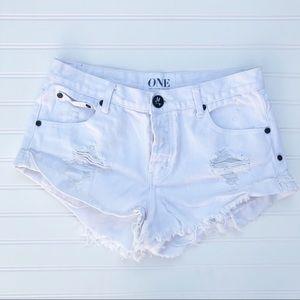 One Teaspoon White Bandit Shorts Size 26